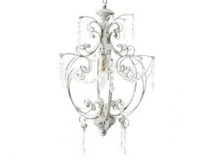 Handmade White & Crystal Chandelier Pendant Ceiling Light 60w 52 x 31 cm